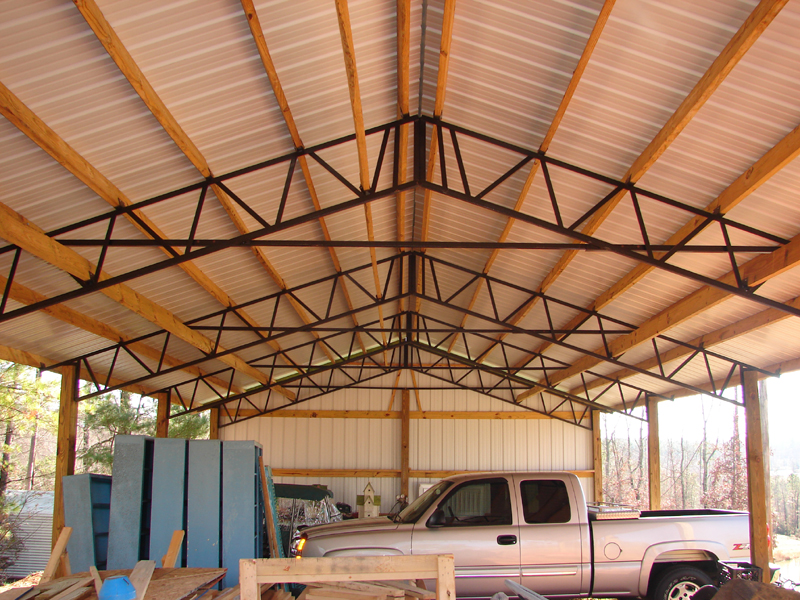 we have many sizes in stock most orders are ready for pick up the next day you can pick any color for the roof and trim - Metal Roof Trusses